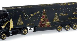 """Celý vianočný motív 2015 vidno na ťahači M-B Actros Gigaspace a jeho skriňovom návese """"Schmitz"""" (HERPA, M 1:87/veľkosť H0)"""